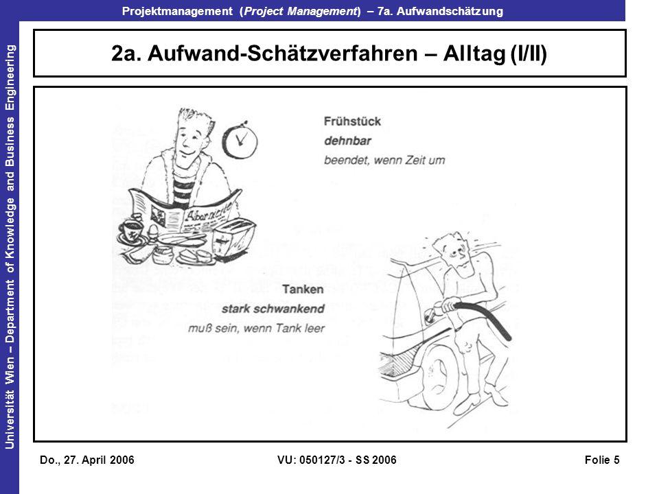 2a. Aufwand-Schätzverfahren – Alltag (I/II)