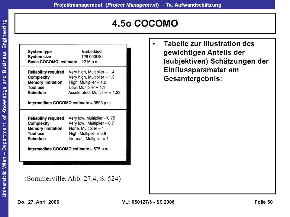 4.5o COCOMO Tabelle zur Illustration des gewichtigen Anteils der (subjektiven) Schätzungen der Einflussparameter am Gesamtergebnis: