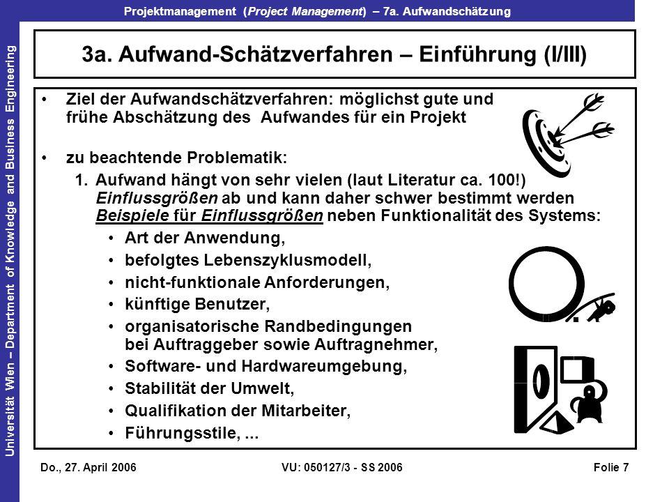 3a. Aufwand-Schätzverfahren – Einführung (I/III)