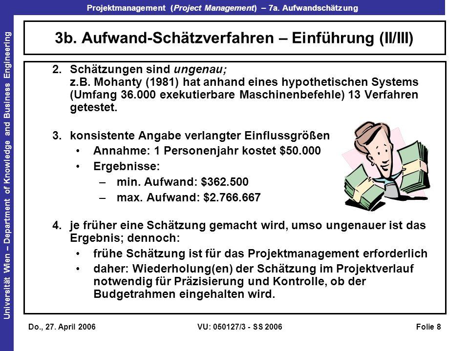 3b. Aufwand-Schätzverfahren – Einführung (II/III)