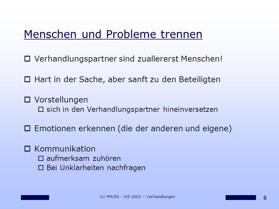 Menschen und Probleme trennen