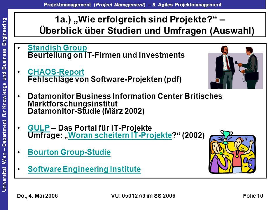 """31.03.2017 1a.) """"Wie erfolgreich sind Projekte – Überblick über Studien und Umfragen (Auswahl)"""