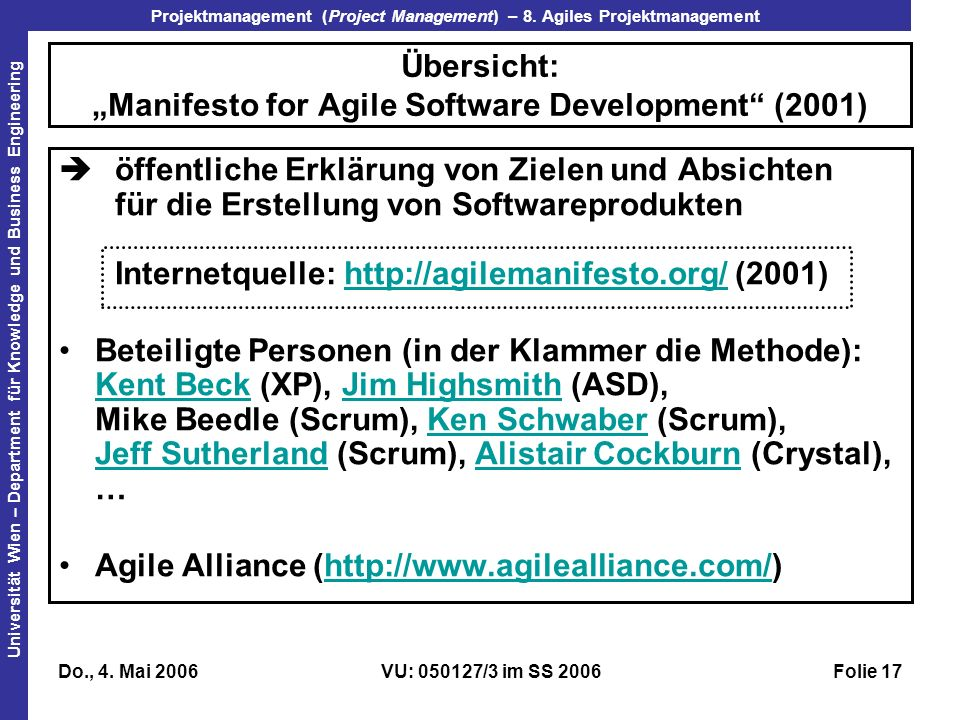 "Übersicht: ""Manifesto for Agile Software Development (2001)"