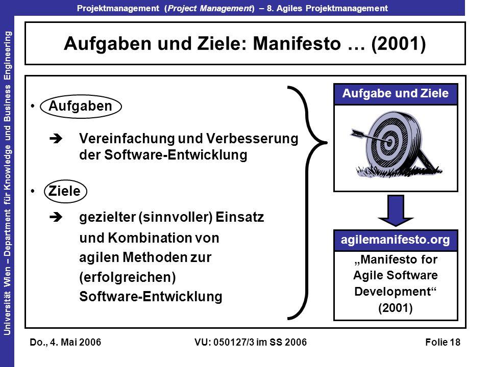 Aufgaben und Ziele: Manifesto … (2001)