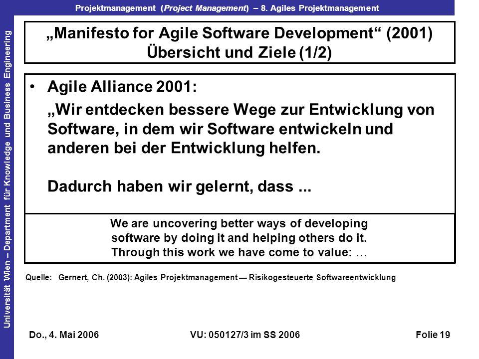 """""""Manifesto for Agile Software Development (2001) Übersicht und Ziele (1/2)"""