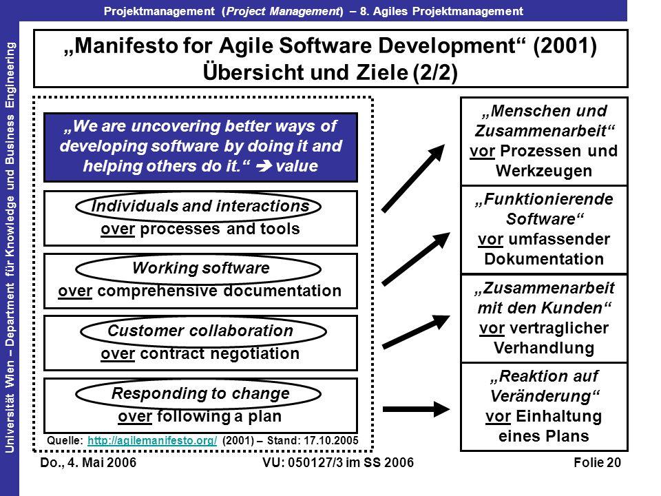 """""""Manifesto for Agile Software Development (2001) Übersicht und Ziele (2/2)"""