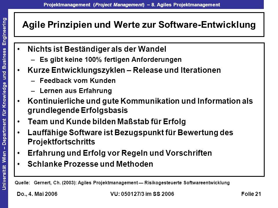 Agile Prinzipien und Werte zur Software-Entwicklung