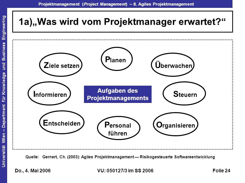 """1a)""""Was wird vom Projektmanager erwartet"""