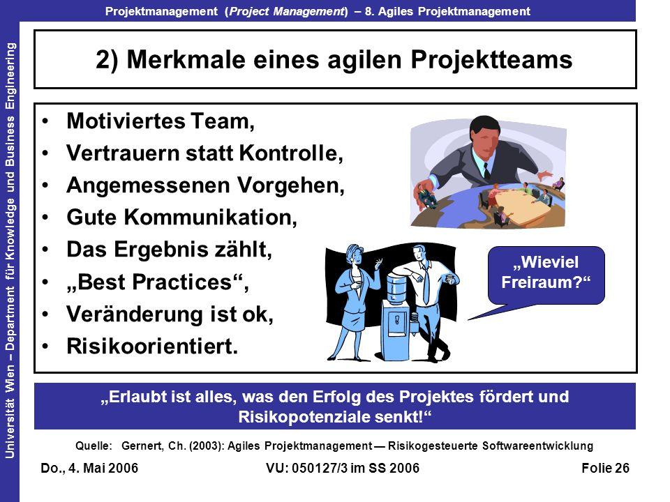 2) Merkmale eines agilen Projektteams