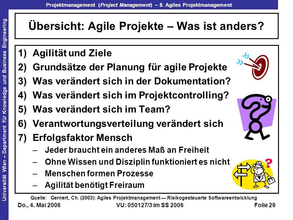 Übersicht: Agile Projekte – Was ist anders