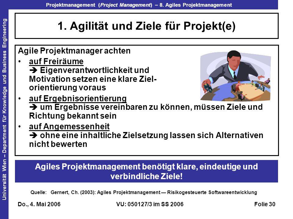 1. Agilität und Ziele für Projekt(e)