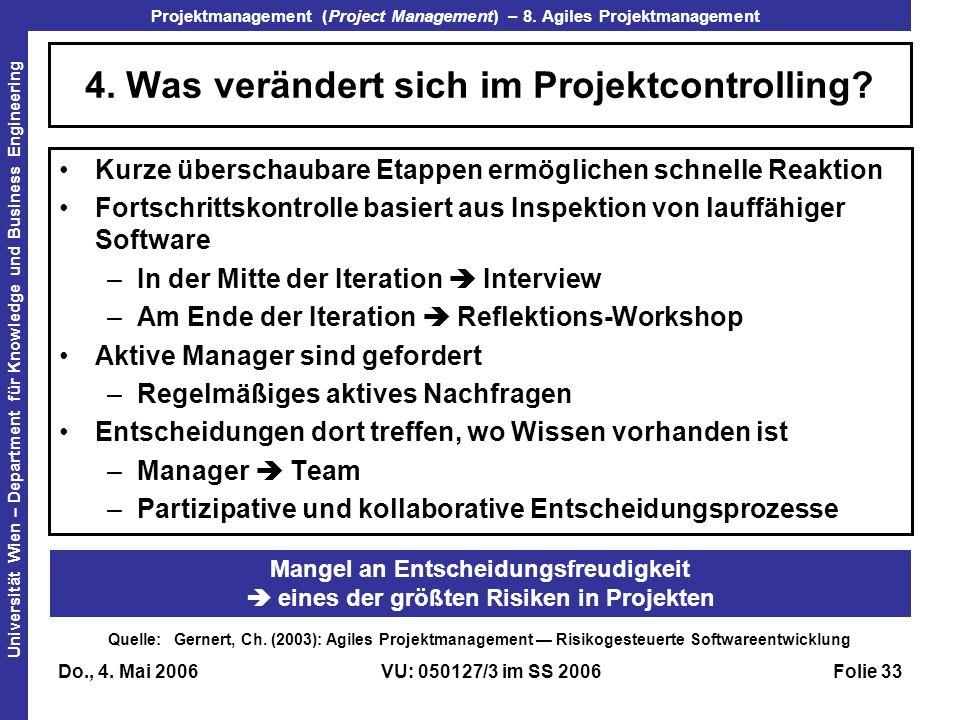 4. Was verändert sich im Projektcontrolling