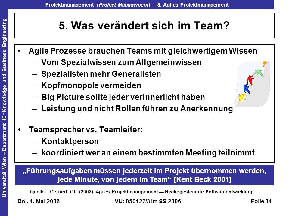 5. Was verändert sich im Team