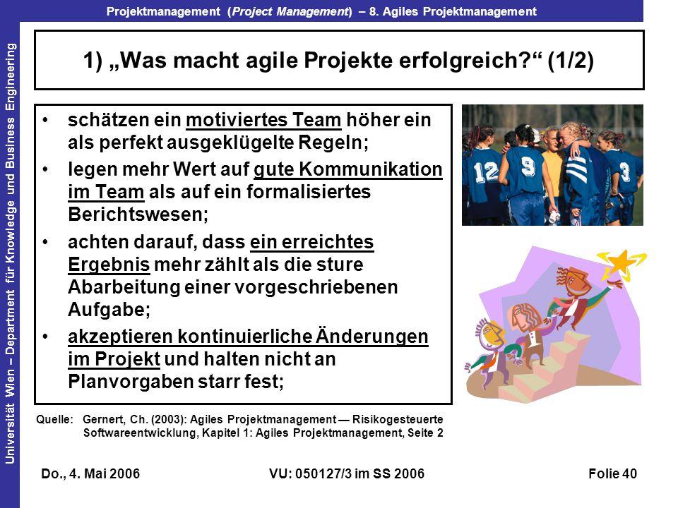 """1) """"Was macht agile Projekte erfolgreich (1/2)"""