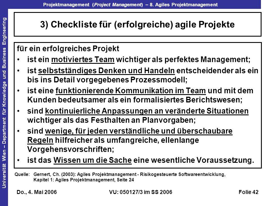 3) Checkliste für (erfolgreiche) agile Projekte