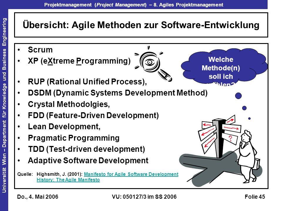 Übersicht: Agile Methoden zur Software-Entwicklung