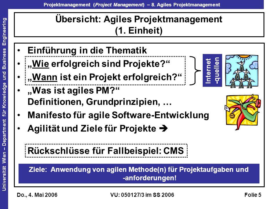 Übersicht: Agiles Projektmanagement (1. Einheit)
