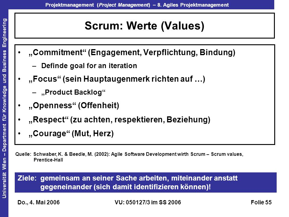 "Scrum: Werte (Values) ""Commitment (Engagement, Verpflichtung, Bindung) Definde goal for an iteration."