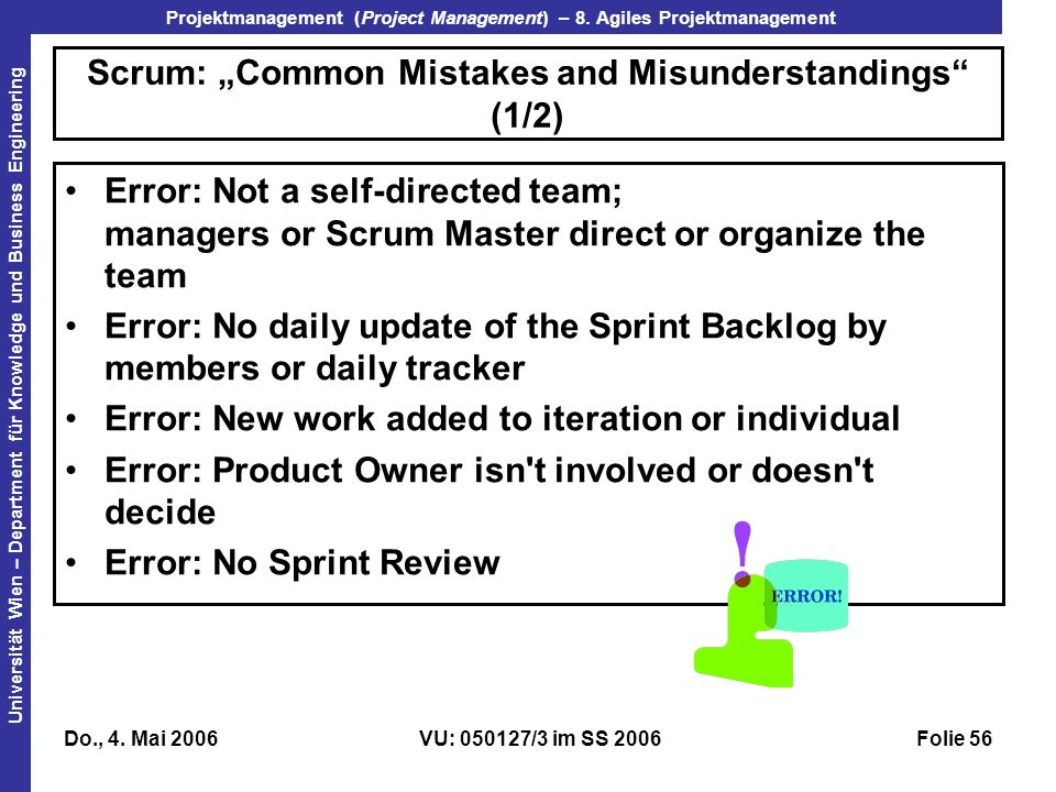 "Scrum: ""Common Mistakes and Misunderstandings (1/2)"