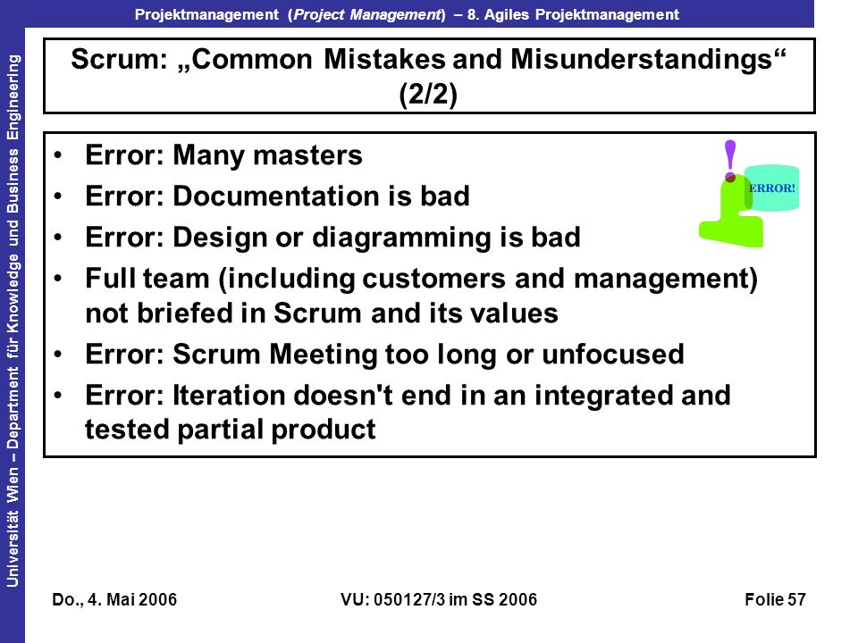 "Scrum: ""Common Mistakes and Misunderstandings (2/2)"