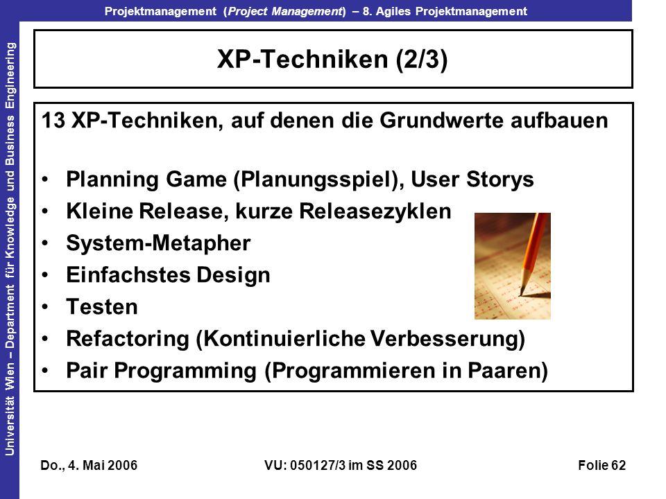 XP-Techniken (2/3) 13 XP-Techniken, auf denen die Grundwerte aufbauen