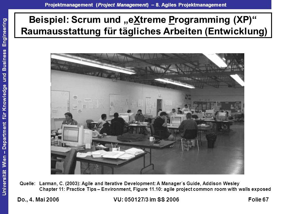 """Beispiel: Scrum und """"eXtreme Programming (XP) Raumausstattung für tägliches Arbeiten (Entwicklung)"""