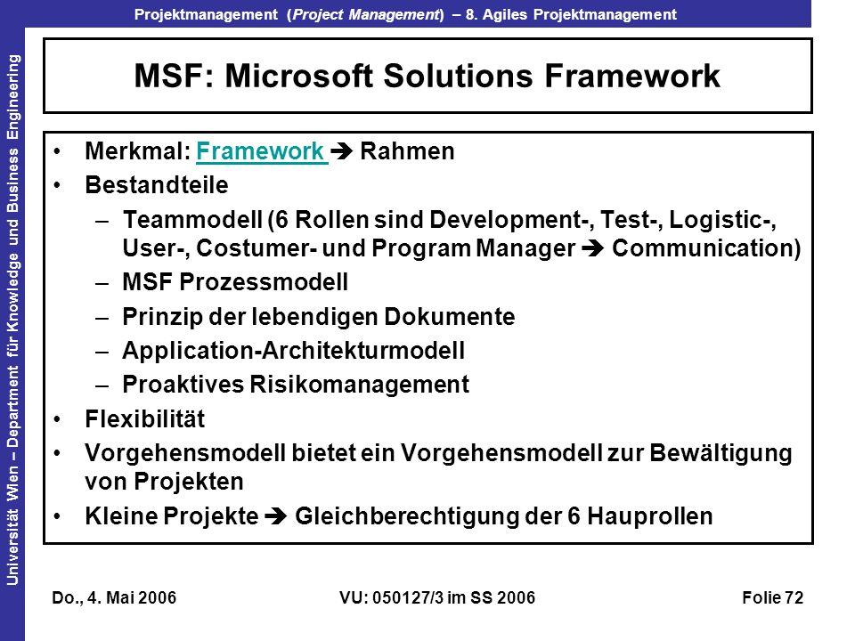 MSF: Microsoft Solutions Framework