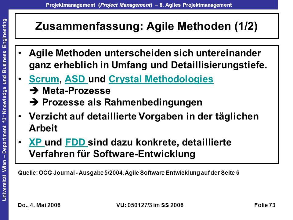 Zusammenfassung: Agile Methoden (1/2)