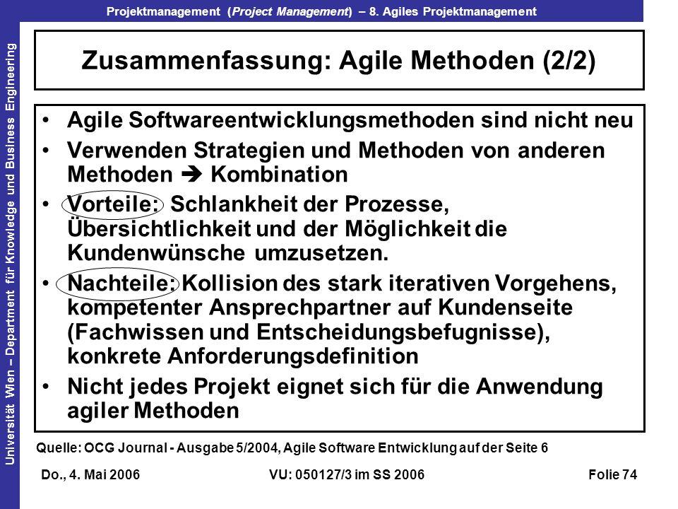 Zusammenfassung: Agile Methoden (2/2)