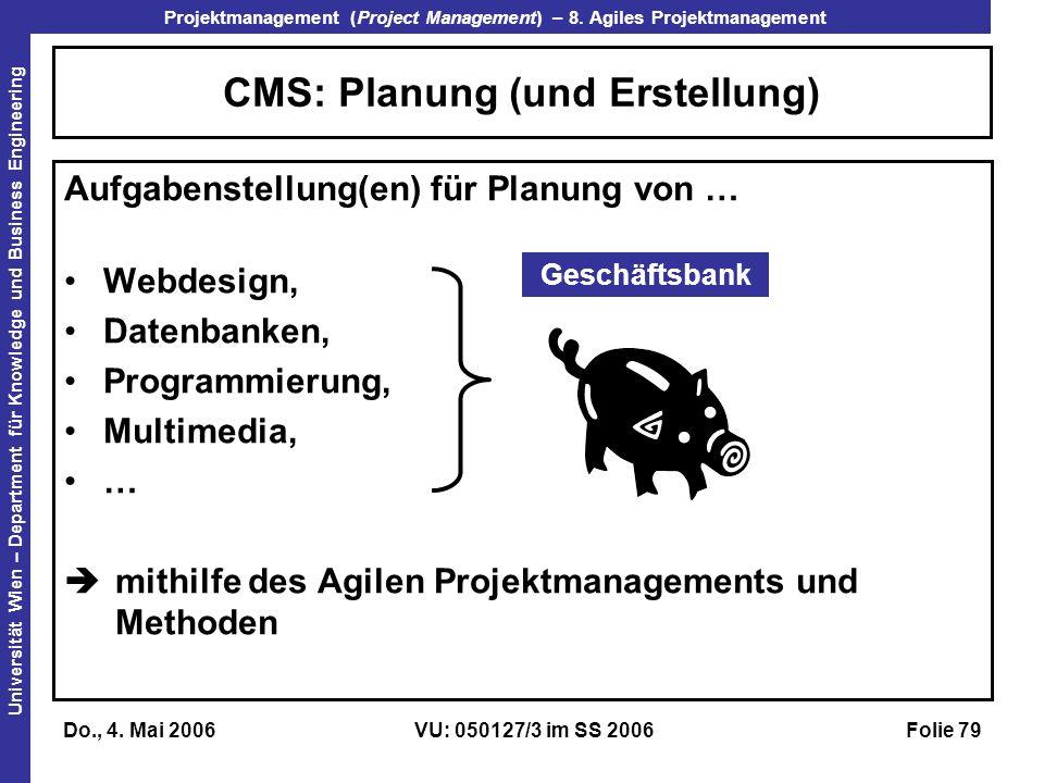 CMS: Planung (und Erstellung)