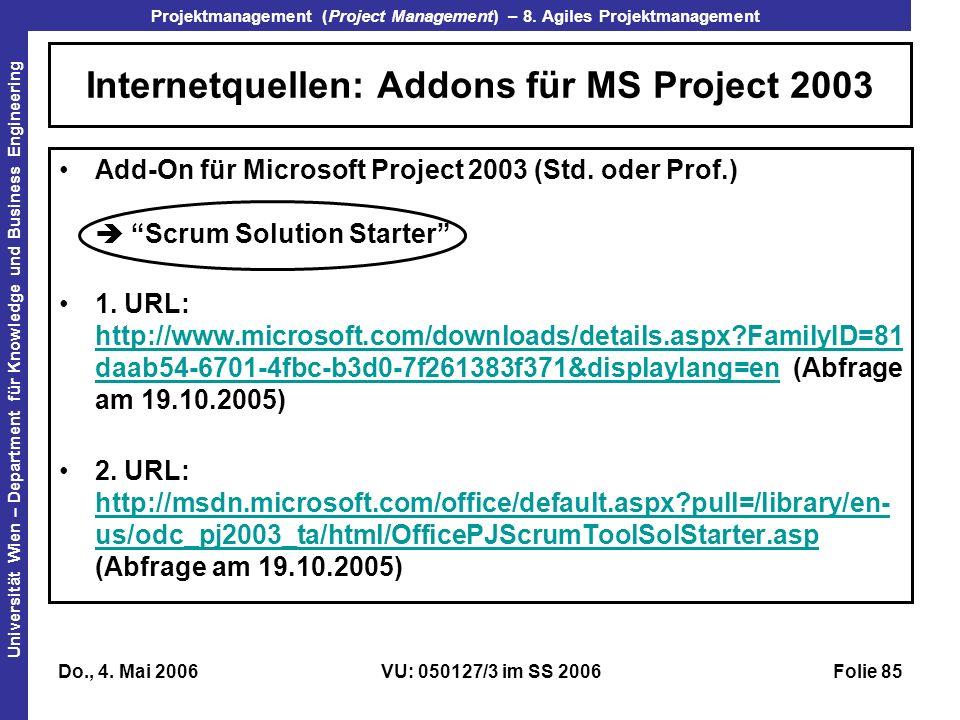 Internetquellen: Addons für MS Project 2003
