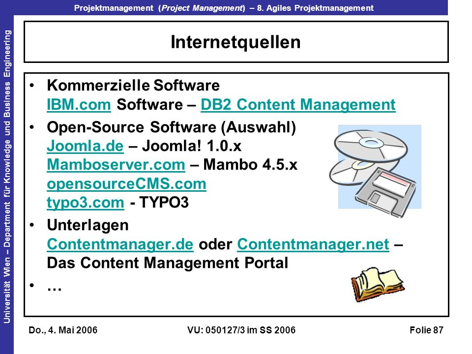 Internetquellen Kommerzielle Software IBM.com Software – DB2 Content Management.
