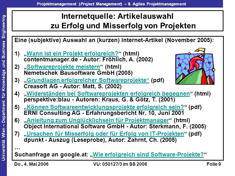 Internetquelle: Artikelauswahl zu Erfolg und Misserfolg von Projekten