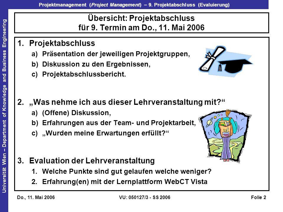 Übersicht: Projektabschluss für 9. Termin am Do., 11. Mai 2006