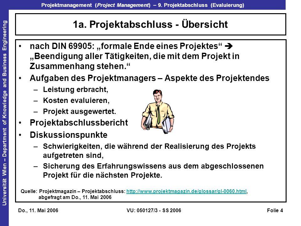 1a. Projektabschluss - Übersicht