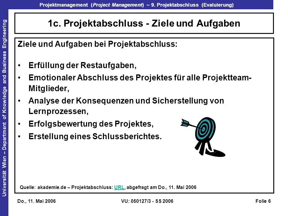1c. Projektabschluss - Ziele und Aufgaben