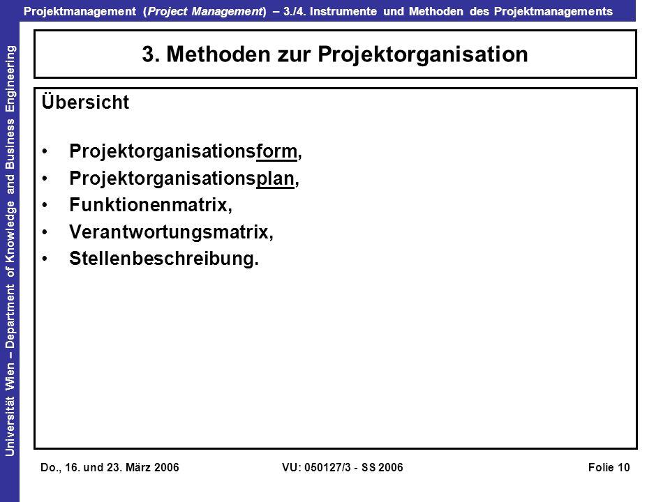 3. Methoden zur Projektorganisation