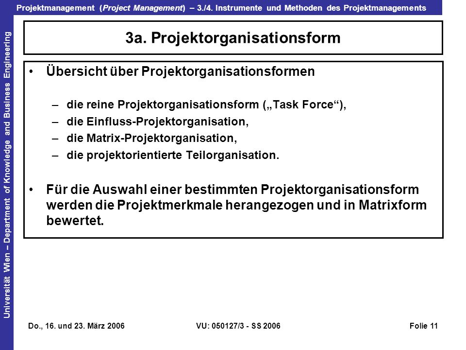 3a. Projektorganisationsform