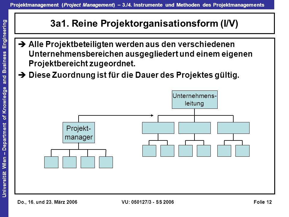 3a1. Reine Projektorganisationsform (I/V)