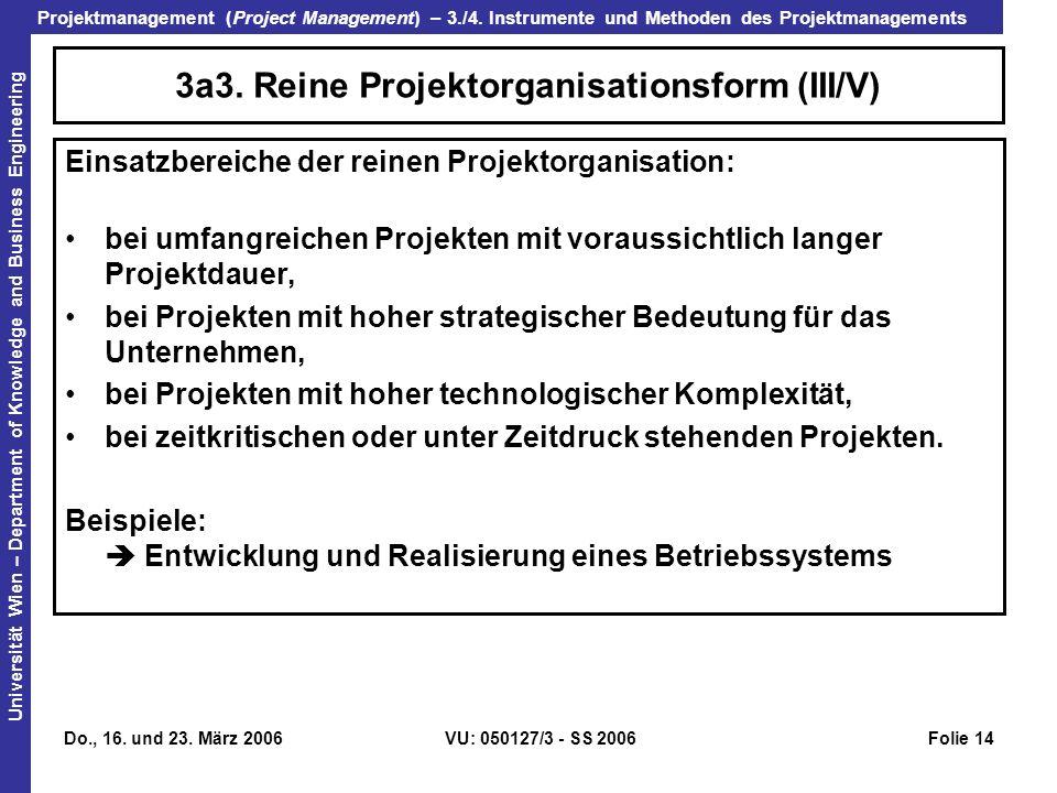 3a3. Reine Projektorganisationsform (III/V)