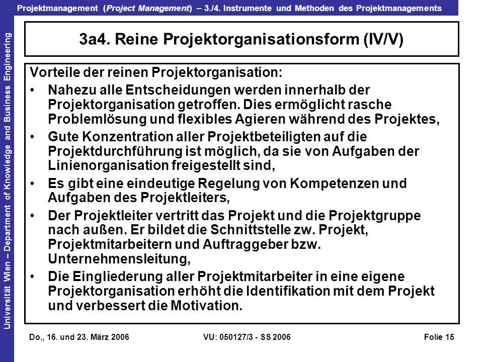 3a4. Reine Projektorganisationsform (IV/V)