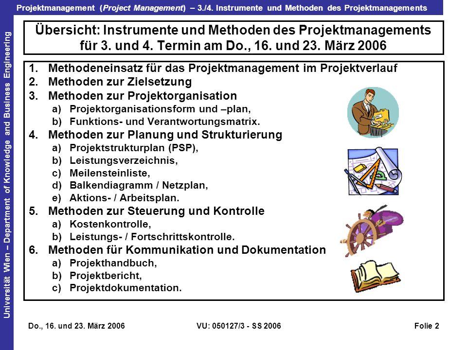 Übersicht: Instrumente und Methoden des Projektmanagements für 3. und 4. Termin am Do., 16. und 23. März 2006