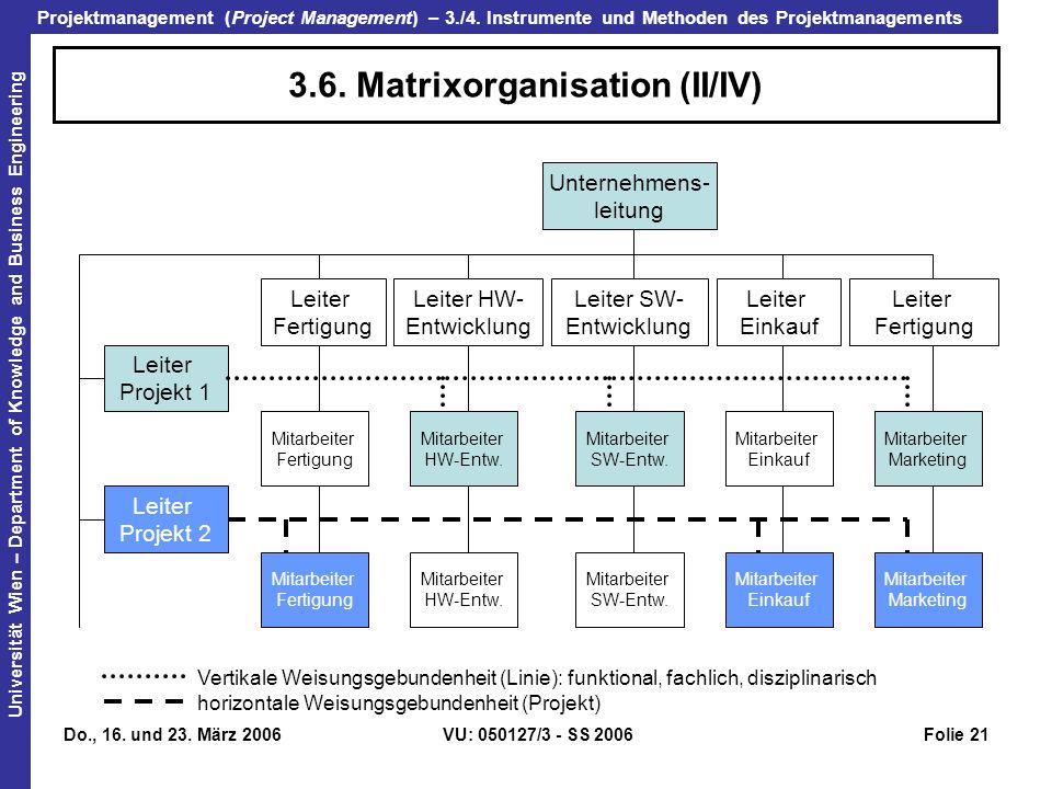 3.6. Matrixorganisation (II/IV)