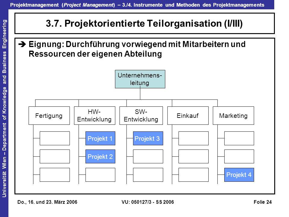 3.7. Projektorientierte Teilorganisation (I/III)
