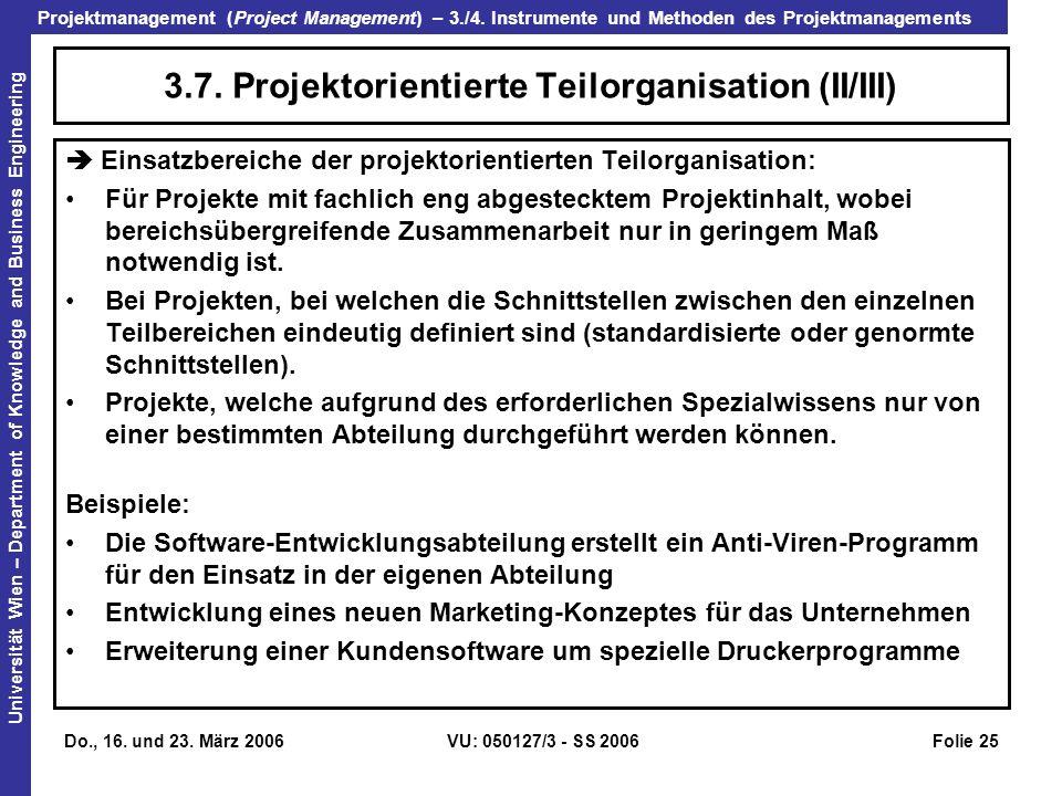 3.7. Projektorientierte Teilorganisation (II/III)