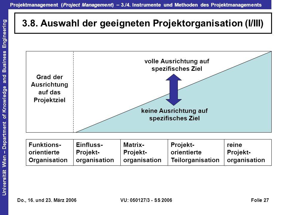 3.8. Auswahl der geeigneten Projektorganisation (I/III)