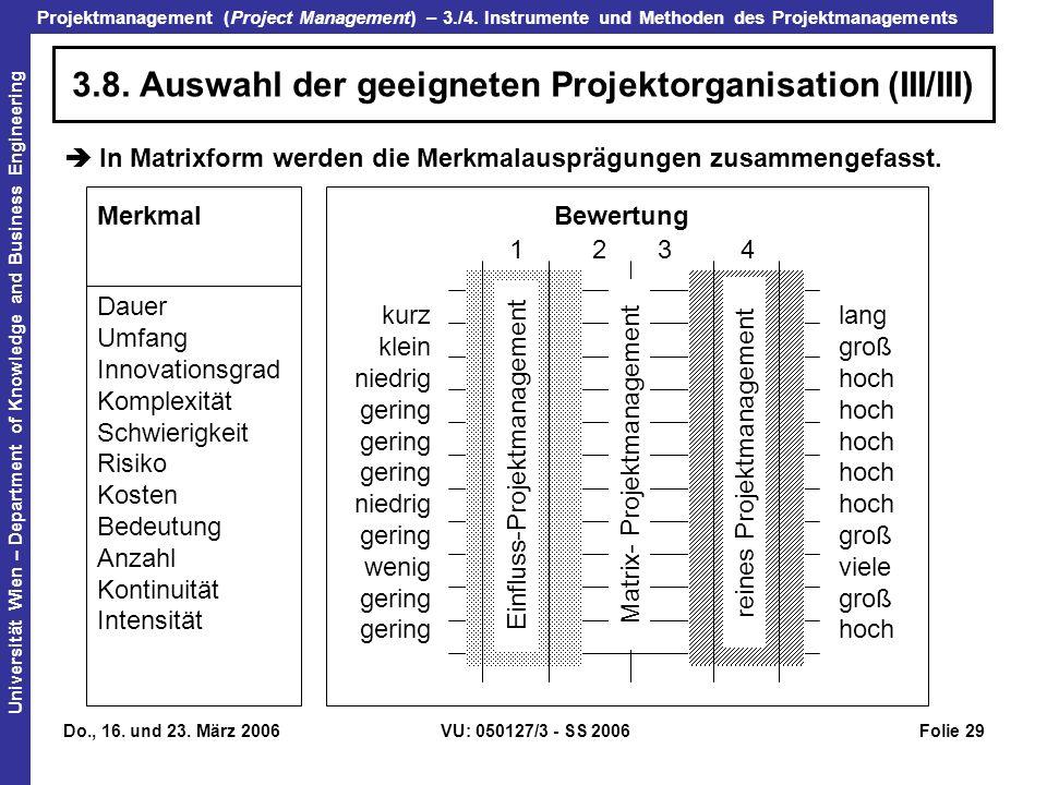 3.8. Auswahl der geeigneten Projektorganisation (III/III)