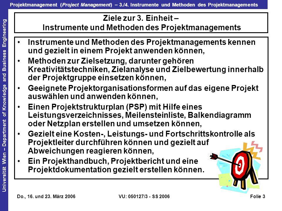 Ziele zur 3. Einheit – Instrumente und Methoden des Projektmanagements