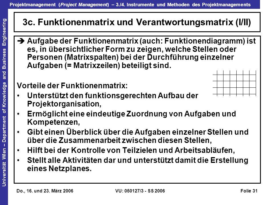 3c. Funktionenmatrix und Verantwortungsmatrix (I/II)