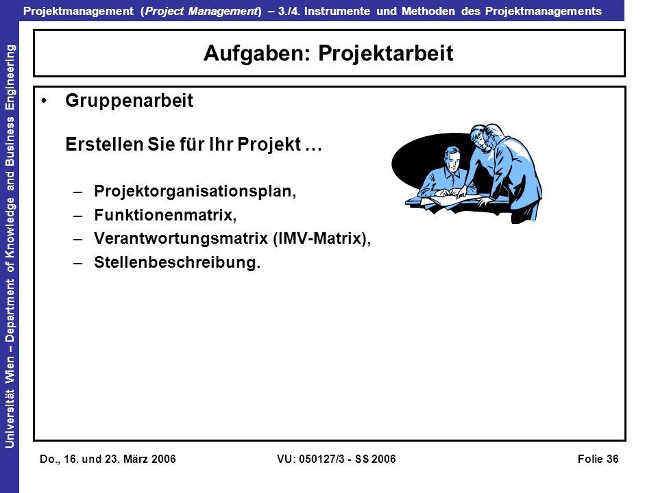 Aufgaben: Projektarbeit